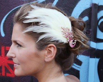 Peacock Feather Clip - Cream / Pink With Gothic Crystal Peacock Embellishment
