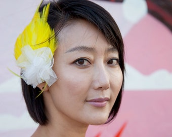 Yellow Feather Barrette with white netting flower