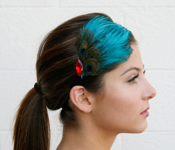 Peacock Feather Headband with Red Jewel