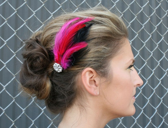 Rhinestone Feather Barrette - Pink, Red and Black Feathers with French Veil and Swarovski Crystal Accent