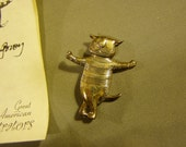 Vintage Sterling Silver Edward Gorey Cat About Town Pin Brooch 2040