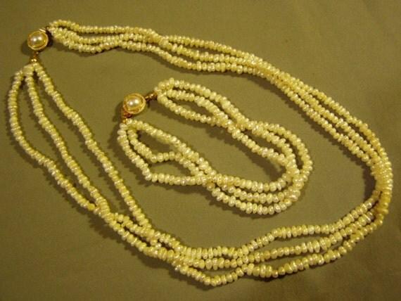 Vintage 3 Strand Freshwater Pearl Necklace & Bracelet Set  1674