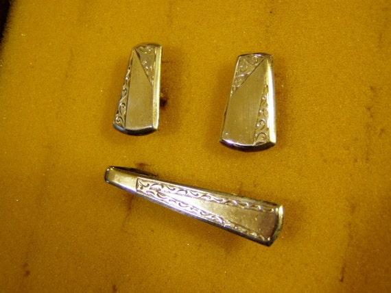 Vintage 1960s Plafina Mexico Sterling Silver Cufflink & Tie Clip Set Embossed Designs 2457