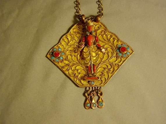 Vintage 1960s Hippie Brass Ethnic Lg Pendant Necklace With Applied Figure Coral Turquoise Stones 2889