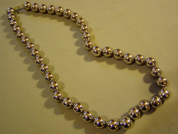 "Vintage Silver Plated Bead Necklace 25"" Long & 13 mm Beads  2959"