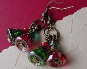 Earrings  //  Christmas Bells  //  Czech Glass Christmas Dangles  //  Jewelry