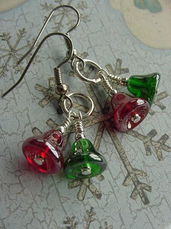 Christmas bells czech glass earrings