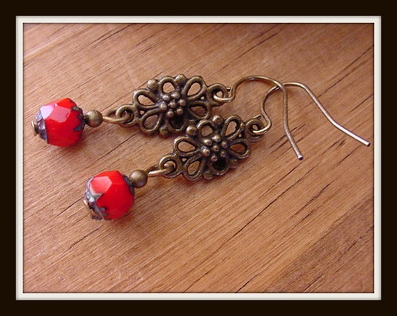 Inspiration //  Red Czech Picasso Glass with Antique Brass Finish Accents  //  Earrings