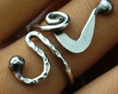 Oxidized Sterling Silver Adjustable Rustic Twisted Wire Ring Size 5 to 11