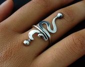Oxidized Ring Sterling Silver Adjustable Rustic Twisted Wire Ring Size 5 to 11