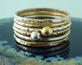 Sterling Silver Gold Filled with Solid 14 k Gold Stacking Ring Set