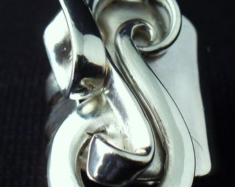 Solid Sterling Silver Fork Ring Made From Actual Antique Silverware Spoon Jewelry