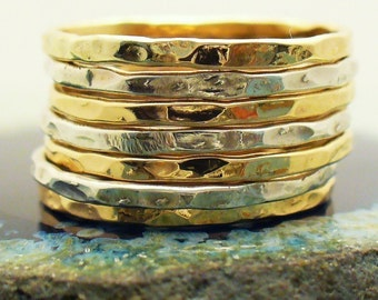 Two Tone Ring 7 Band Stack Set