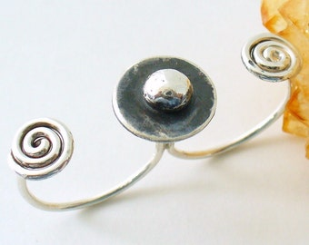 Two Finger Ring Oxidized Sterling Silver