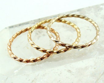 Twisted Gold Ring Tri Color Stacking Ring Set