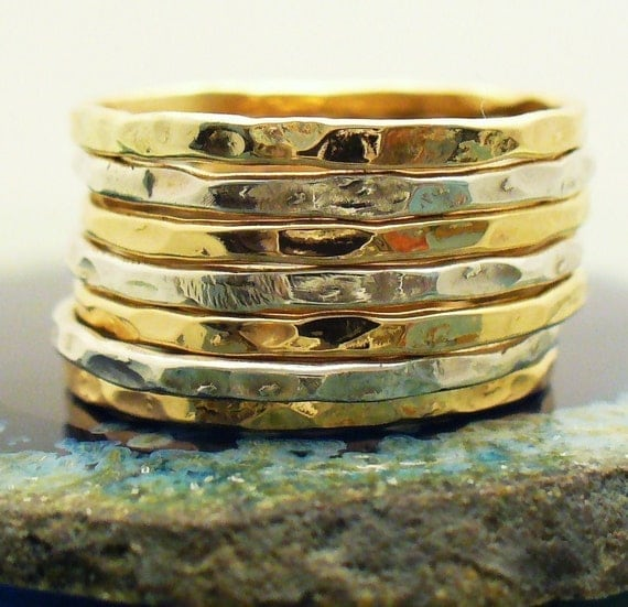 Stacker Bands: Two Tone Ring 7 Band Stack Set