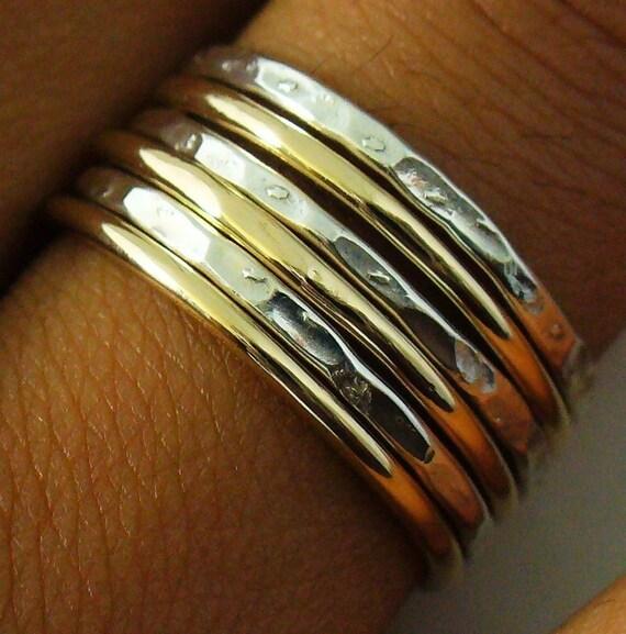Sterling Silver Gold Filled 6 Band Hammered Polished Mix Stack Ring Set