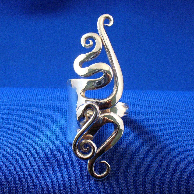finger ring sterling silver fork ring