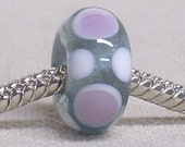 Glass Lampwork Bead Large Hole European Charm Bead Transparent Gray with White and Purple Dots