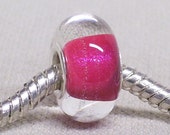 Clear Glass Large Hole Lampwork Bead with Pink Glittery Center Silver Cored Large Hole Bead