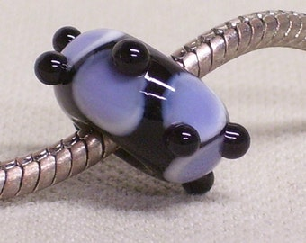 Glass Lampwork Bead Large Hole European Charm Bead, Black with Light Purple Design and Black Raised Dots
