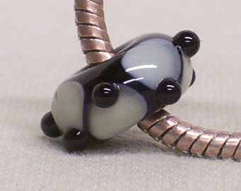 Handmade Lampwork Bead Large Hole European Charm Bead Black with Green/Gray Design and Black Raised Dots