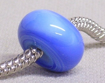 Large Hole Glass Lampwork Bead European Style Charm Bead Blue and Light Blue Swirl Colors