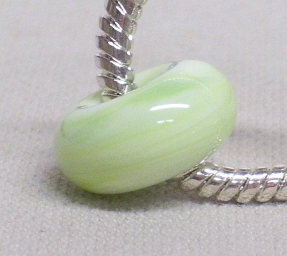 European Style Large Hole Charm Bead Handmade Lampwork Bead Light Green Swirl