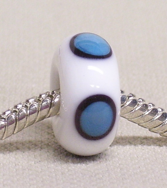 Handmade Lampwork Bead Large Hole European Charm Bead White with Black and Blue Dots