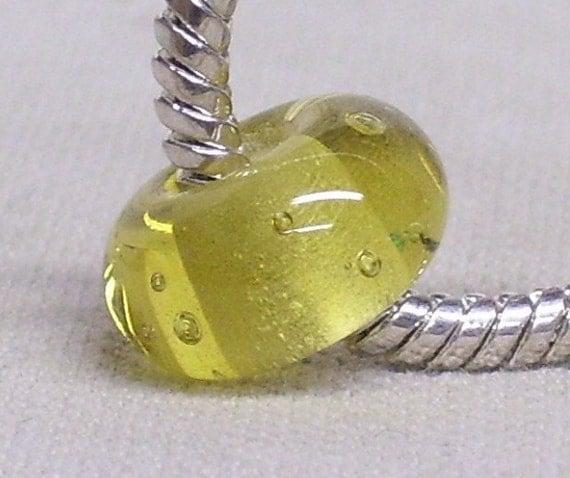 Transparent Kelp Color Bubble Bead Handmade Large Hole Lampwork Bead Fits European Charm Bracelets