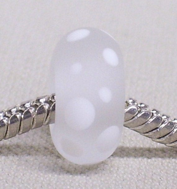Large Hole Glass Lampwork Bead European Style Charm Bead Etched Clear Glass Dotted Snow Bead