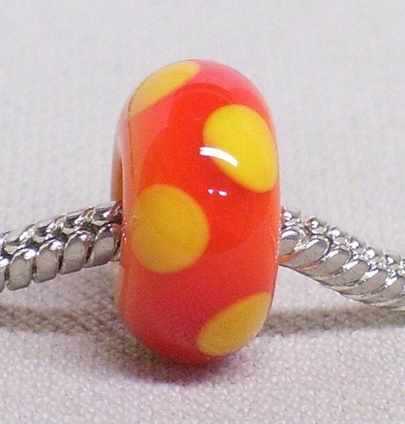 Orange and Yellow Glass Large Hole Lampwork Bead Bright Orange with Yellow Dots European Charm Bead BHB