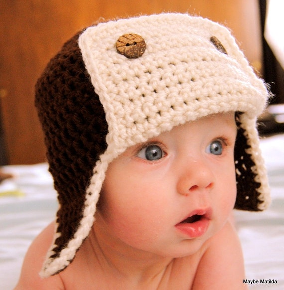 SALE Crochet Baby Bomber Aviator Hat Chocolate Brown with Cream Flap 3 to 6 Month Size Ready to Ship