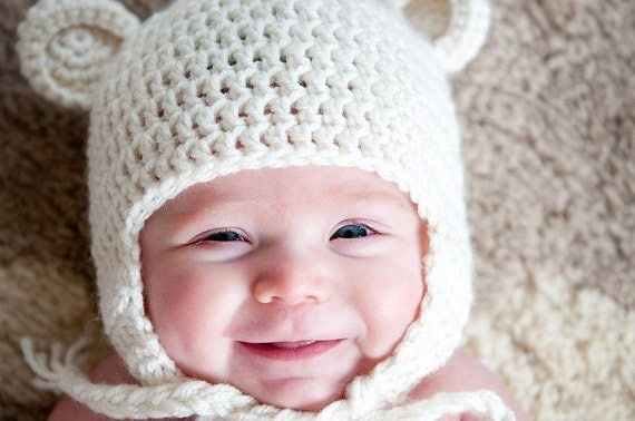 Crochet Baby Teddy Bear Hat You Choose Size and Colors