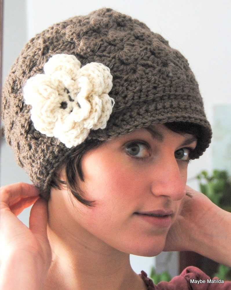 Crochet flower for beanie hat pattern manet for adult crochet brimmed beanie shell hat with flower you choose bankloansurffo Gallery