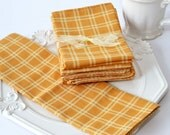 Dinner Napkins - 13x13 Double Sided Orange and Cream Plaid Cloth Napkin Set of 6