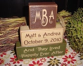 Wedding Marriage Happily Ever After Two Become One PERSONALIZED Names Initials Monogram Date Wood Sign Blocks Primitive Country Rustic