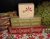 Personalized Nana's Grandma's Greatest Blessings Grandkids Grandchildren Names Wood Sign Shelf Blocks Primitive Country Rustic