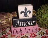 Amour Ooh La La Fluer de lis Paris Theme Girls Wood Sign Shelf Blocks Primitive Country Rustic