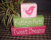 Tweet Dreams Bird Little Lady Ladybug You Are My Sunshine Butterfly Kisses Girls Children Wood Sign Blocks Primitive Country Rustic