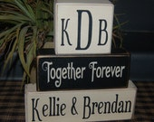 WEDDING Happily Ever After Forever For Always No Matter What PERSONALIZED Names Initials Monogram Date Wood Sign Blocks Primitive Country