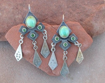 Turquoise and Jade Queen of Heaven Earrings