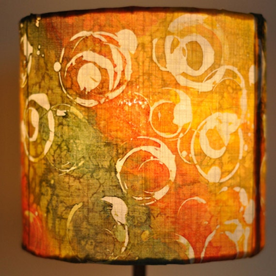 Hand Painted Lamp Shades: Lamp Shade Yellow Orange Green Hand Painted Silk