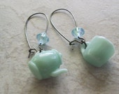 Earrings, Teacup, Teapot, Miniature, Plastic, Gunmetal, Mint, Tea for Two Earrings