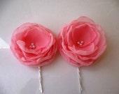 Flower hair pin. Chiffon Flower bobby pin clip  Accessories