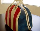 Vintage Bowling Bag - SALE 20% Off - Red White and Blue