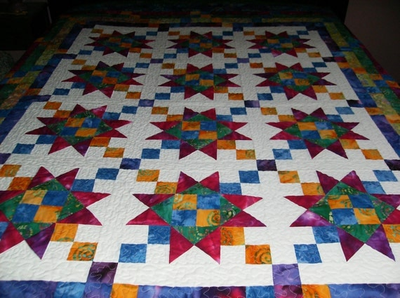 Enchanted Stars Batiks and Tye Dyes Queen Size Quilt