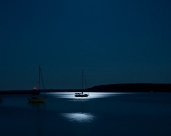 Blue Sailboat, Moonlit boat, moonlight print, midnight, nautical, navy blue, Straits of Mackinac, water, night, art, photo, photograph