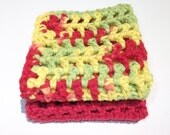 Set of 2 Crochet Cotton Wash Cloths in Red Fiesta - 8 x 8 inches