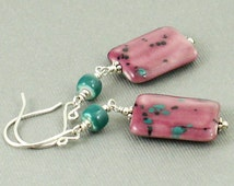 Pink and Green Ceramic Beaded Earings, Sterling Silver Earrings, Pierced Earrings, Poppy Seed